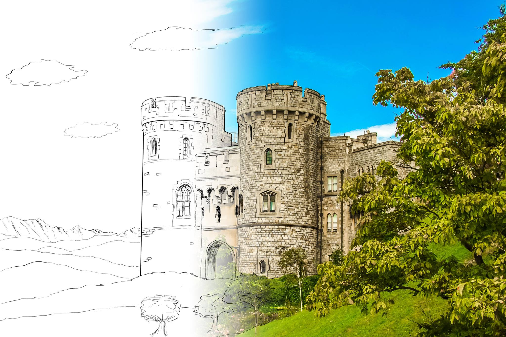 Hand-drawn castle on left transitioning to photograph on right to signify campaign 'coming to life'